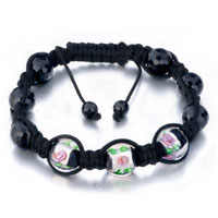 New Year Deals - shamballa bracelet clear black beads on cotton rope Image.