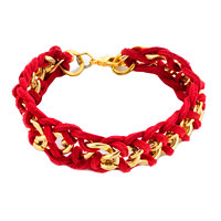 New Year Deals - red braided vintage curb chunky sydne link chain and leather strap bracelet Image.