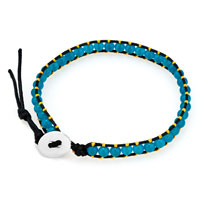 New Year Deals - aquamarine blue stone yellow crystal brown leather wrap bracelet Image.