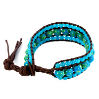 Bracelets - green against aquamarine blue stone double crystal wrap brown leather bracelet Image.