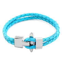 Charms Beads - simple double strands ocean blue leather toggle clasp beads charms bracelets fit all brands Image.