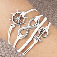 Bracelets - infinity bracelet anchor wheel cross cotton rope leather bracelet white Image.