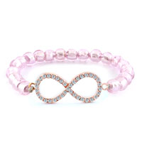 New Year Deals - beautiful infinity bracelet pink crystal beads iced out bracelets Image.