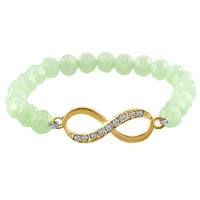 New Year Deals - hot infinity bracelet light green crystal beads iced out bracelets Image.