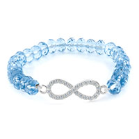 New Year Deals - fashion infinity bracelet light blue crystal beads iced out bracelet Image.