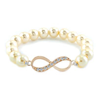 New Year Deals - infinity bracelet freshwater cultured pearl beads crystal bracelets Image.