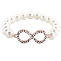 New Year Deals - classic infinity bracelet white shell pearl beads iced out bracelets Image.