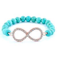 New Year Deals - infinity bracelet turquoise beads shimmering crystal bracelets Image.