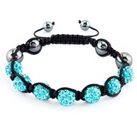 New Year Deals - shambhala bracelet aquamarine blue crystal stone balls beaded Image.