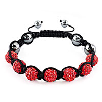 New Year Deals - shambhala bracelet light red crystal stone balls beaded Image.