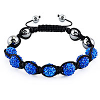 New Year Deals - shambhala bracelet sapphire blue crystal stone balls beaded Image.