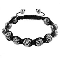 New Year Deals - shambhala bracelet smoky gray crystal stone balls beaded Image.