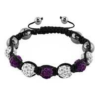 New Year Deals - shambhala bracelet clear white amethyst purple crystal Image.