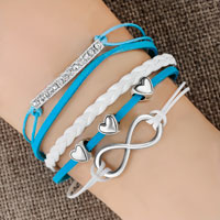 Bracelets - infinity bracelet three heart aquamarine blue braided leather rope Image.