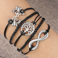 Bracelets - infinity double butterfly animal hoop tree of life leather rope bracelet Image.