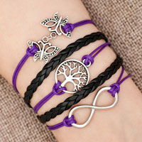 Bracelets - iced out sideways infinity tree of life butterfly purple black braided leather rope bracelet Image.