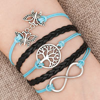 Bracelets - iced out sideways infinity tree of life butterfly ocean blue black braided leather rope bracelet Image.