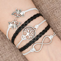 Bracelets - iced out sideways infinity tree of life butterfly white black braided leather rope bracelet Image.