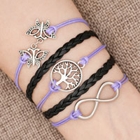 New Arrivals - iced out sideways infinity tree of life butterfly light purple black braided leather rope bracelet Image.