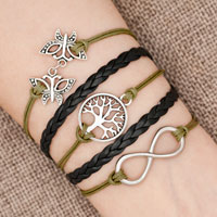 Bracelets - iced out sideways infinity tree of life butterfly green black braided leather rope bracelet Image.