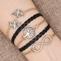 Bracelets - iced out sideways infinity tree of life butterfly yellow black braided leather rope bracelet Image.