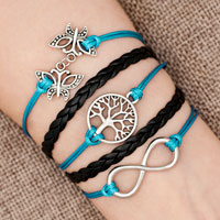 Bracelets - iced out sideways infinity tree of life butterfly blue black braided leather rope bracelet Image.