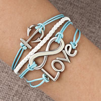 Bracelets - infinity bracelet anchor love karma cross cotton rope leather bracelet Image.