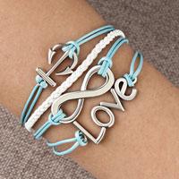 Bracelets - infinity bracelet anchor love karma cross cotton rope leather bracelet Image.
