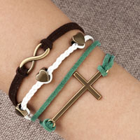 Bracelets - infinity bracelet three heart sideways cross leather rope bracelet Image.