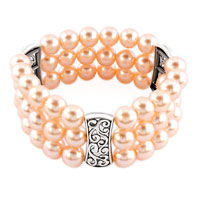 Bracelets - pearl bracelet stretch triple strand aa round freshwater cultured bracelets Image.