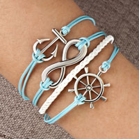 Bracelets - infinity bracelet anchor wheel cross cotton rope leather bracelet blue Image.