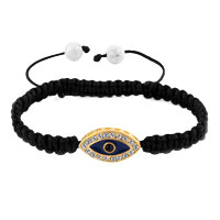 Bracelets - evil eyes bracelets gold sideways iced black evil eye crystal shamballa inspired lace adjustable bracelet Image.