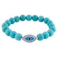 Bracelets - evil eyes bracelets hamsa bracelets turquoise beads blue evil eye stretch bracelet Image.