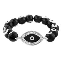 Bracelets - evil eyes bracelets sideways iced clear swarovski element crystal evil eye black beads stretch bracelet Image.