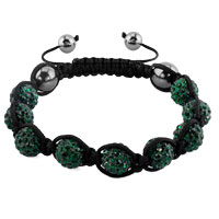 KSEB SHEB Items - shambhala bracelets emerald green crystal stone balls adjustable lace bracelet Image.