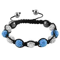 Bracelets - shambhala bracelets white aquamarine blue crystal stone balls adjustable lace bracelet Image.