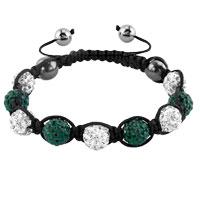 KSEB SHEB Items - shambhala bracelets white emerald green crystal stone balls adjustable lace bracelet Image.