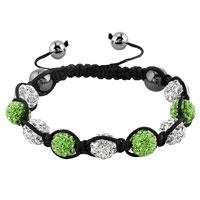 KSEB SHEB Items - shambhala bracelets white peridot green crystal stone balls adjustable lace bracelet Image.