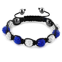 Bracelets - shambhala bracelets white sapphire blue crystal stone balls adjustable lace bracelet Image.