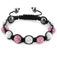 KSEB SHEB Items - shambhala bracelets white rose pink crystal stone balls adjustable lace bracelet Image.