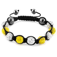KSEB SHEB Items - shambhala bracelets white topaz yellow crystal stone balls adjustable lace bracelet Image.