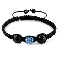 Bracelets - authentic aquamarine blue black color crystals shamballa braided adjustable lace bracelet Image.