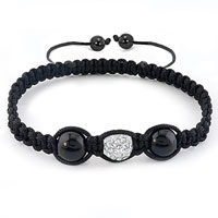Bracelets - authentic clear white black color crystals shamballa braided adjustable lace bracelet Image.