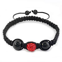 Bracelets - authentic light red black color crystals shamballa braided adjustable lace bracelet Image.