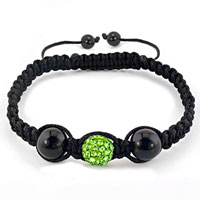 Bracelets - authentic peridot green black color crystals shamballa braided adjustable lace bracelet Image.