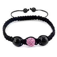 New Year Deals - authentic classic rose pink color crystal shamballa braided bracelet Image.