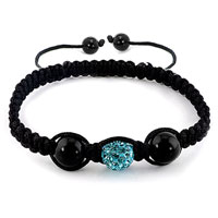 Bracelets - authentic blue topaz black color crystals shamballa braided adjustable lace bracelet Image.