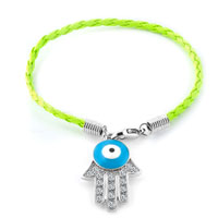 KSEB SHEB Items - authentic clear white color crystals evil eye hamsa hand of fatima braided peridot green leather bracelet Image.