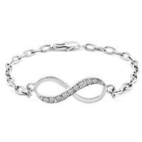 Bracelets - infinity bracelets bracelet clear rhinestone sideways iced out link Image.