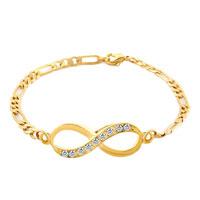 Bracelets - infinity bracelets bracelet gold plated clear white lobster clasp Image.